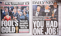 """New York tabloid newspapers on Monday, February 27, 2017 report on the previous night's Oscar awards ceremony where the wrong film, """"La La Land"""" was mistakenly announced as best picture instead of """"Moonlight"""". PriceWaterhouseCoopers gave the presenters, Warren Beatty and Faye Dunaway, the wrong envelope. (© Richard B. Levine)"""