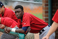 Shortstop Nick Gordon (9) of the Elizabethton Twins before a game against the Johnson City Cardinals on Sunday, July 27, 2014, at Howard Johnson Field at Cardinal Park in Johnson City, Tennessee. Gordon was a first-round pick of the Minnesota Twins in the 2014 First-Year Player Draft.(Tom Priddy/Four Seam Images)
