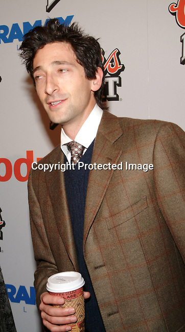 Adrien Brody<br />&ldquo;Cold Mountain&rdquo; Premiere Los Angeles<br />Mann National Theater<br />Westwood, CA, USA<br />Sunday, December 07, 2003 <br />Photo By Celebrityvibe.com/Photovibe.com