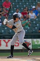 Salt Lake Bees outfielder Peter Bourjos (17) at bat during the Pacific Coast League baseball game against the Round Rock Express on August 10, 2013 at the Dell Diamond in Round Rock, Texas. Round Rock defeated Salt Lake 9-6. (Andrew Woolley/Four Seam Images)
