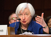 "Janet L. Yellen, Chair, Board of Governors of the Federal Reserve System testifies before the United States Congress Joint Economic Committee on ""The Economic Outlook"" in Washington, DC on Thursday, November 17, 2016.  In her prepared remarks Yellen stated ""With regard to the outlook, I expect economic growth to continue at a moderate pace sufficient to generate some further strengthening in labor market conditions and a return of inflation to the Committee's 2 percent objective over the next couple of years.""<br /> Credit: Ron Sachs / CNP"