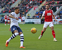 Preston North End's Lukas Nmecha attempts to escape the attention of Rotherham United's Joe Mattock<br /> <br /> Photographer David Shipman/CameraSport<br /> <br /> The EFL Sky Bet Championship - Rotherham United v Preston North End - Tuesday 1st January 2019 - New York Stadium - Rotherham<br /> <br /> World Copyright © 2019 CameraSport. All rights reserved. 43 Linden Ave. Countesthorpe. Leicester. England. LE8 5PG - Tel: +44 (0) 116 277 4147 - admin@camerasport.com - www.camerasport.com