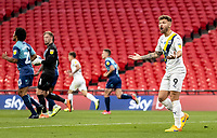 Oxford United's Matty Taylor appeals to the assistant referee <br /> <br /> Photographer Andrew Kearns/CameraSport<br /> <br /> Sky Bet League One Play Off Final - Oxford United v Wycombe Wanderers - Monday July 13th 2020 - Wembley Stadium - London<br /> <br /> World Copyright © 2020 CameraSport. All rights reserved. 43 Linden Ave. Countesthorpe. Leicester. England. LE8 5PG - Tel: +44 (0) 116 277 4147 - admin@camerasport.com - www.camerasport.com