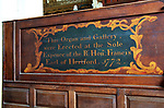 Organ and gallery dedication, Church of Saint Bartholomew, Orford, Suffolk, Suffolk, England, UK 1772