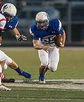 NWA Democrat-Gazette/ANTHONY REYES &bull; @NWATONYR<br /> Christian Brummett, Rogers senior, runs against Claremore, Okla., Friday, Sept. 11, 2015 at Whitey Smith Stadium in Rogers.