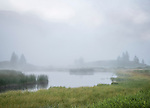 Bridger-Teton National Forest, Wyoming:<br /> Fog envelops marshes and wetlands along the Green River
