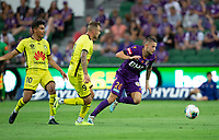 7th February 2020; HBF Park, Perth, Western Australia, Australia; A League Football, Perth Glory versus Wellington Phoenix; Jake Brimmer of the Perth Glory gets to the ball ahead of David Ball  of Wellington Phoenix