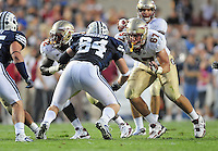 Sept. 19, 2009; Provo, UT, USA; BYU Cougars defensive lineman (84) Jan Jorgensen battles Florida State Seminoles offensive guard (67) Andrew Datko at LaVell Edwards Stadium. Florida State defeated BYU 54-28. Mandatory Credit: Mark J. Rebilas-