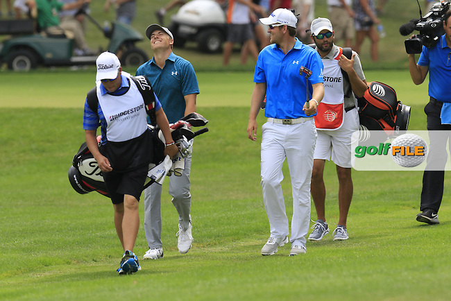Bernd WIESBERGER (AUT) and Jordan Spieth (USA) walk to the 7th green during Sunday's Final Round of the 2015 Bridgestone Invitational World Golf Championship held at the Firestone Country Club, Akron, Ohio, United States of America. 9/08/2015.<br /> Picture Eoin Clarke, www.golffile.ie