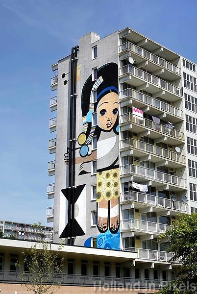 Nederland Amsterdam 2019 . De Bijlmer. Muurschildering van Speto in de H-Buurt. Foto Berlinda van Dam / Hollandse Hoogte