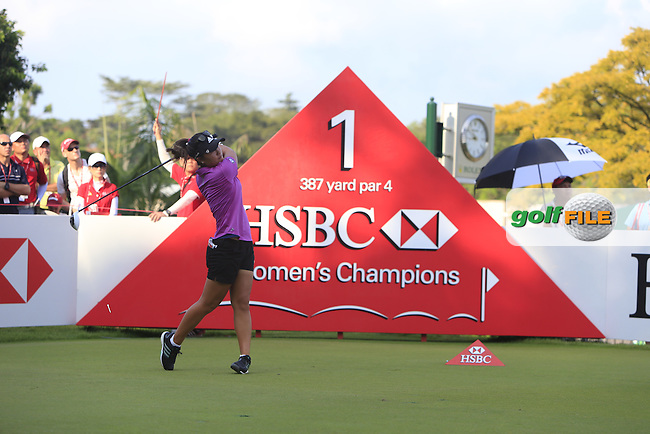 Danielle Kang (USA) on the 1st tee during Round 4 of the HSBC Women's Champions at the Sentosa Golf Club, The Serapong Course in Singapore on Sunday 8th March 2015.<br /> Picture:  Thos Caffrey / www.golffile.ie