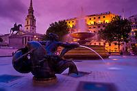Trafalgar Square at dusk, London, England.