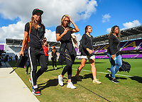 Orlando, FL - Saturday October 14, 2017: Portland Thorns FC, Tobin Heath, Allie Long during the NWSL Championship match between the North Carolina Courage and the Portland Thorns FC at Orlando City Stadium.