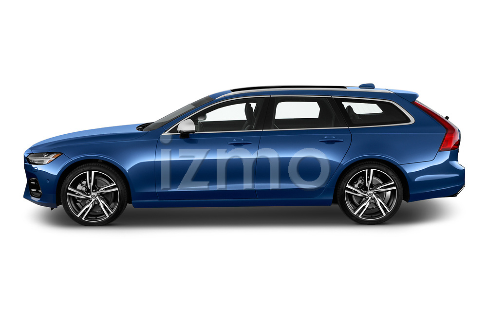Car driver side profile view of a 2018 Volvo V90 R-Design AWD T6  5 Door Wagon