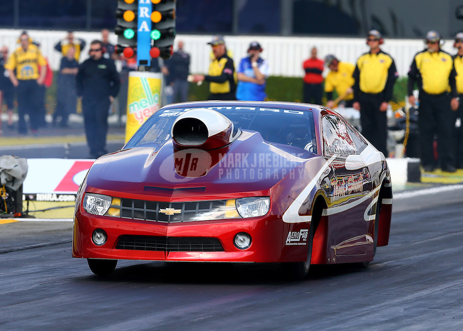 Feb 7, 2014; Pomona, CA, USA; NHRA pro stock driver Paul Pittman during qualifying for the Winternationals at Auto Club Raceway at Pomona. Mandatory Credit: Mark J. Rebilas-