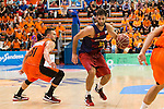 FC Barcelona Lassa's Stratos Perperoglou Montakit Fuenlabrada's Ivan Paunic  during the match of Endesa ACB League between Fuenlabrada Montakit and FC Barcelona Lassa at Fernando Martin Stadium in fuelnabrada,  Madrid, Spain. October 30, 2016. (ALTERPHOTOS/Rodrigo Jimenez)