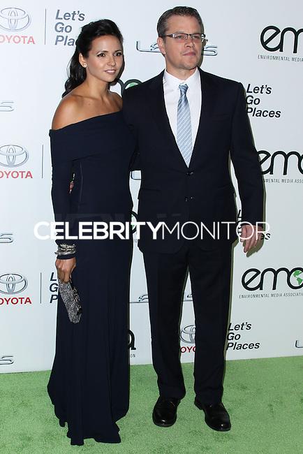 BURBANK, CA - OCTOBER 19: Luciana Damon, Matt Damon at the 23rd Annual Environmental Media Awards held at Warner Bros. Studios on October 19, 2013 in Burbank, California. (Photo by Xavier Collin/Celebrity Monitor)