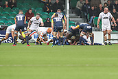 10th September 2017, Sixways Stadium, Worcester, England; Aviva Premiership Rugby, Worcester Warriors versus Wasps; Biyi Alo of Worcester Warriors gets the ball and pushes over the line to score Worcester Warriors first try of the game