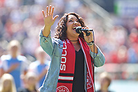 Portland, OR - Saturday August 05, 2017: National Anthem Singer during a regular season National Women's Soccer League (NWSL) match between the Portland Thorns FC and the Houston Dash at Providence Park.