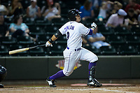 Brady Conlan (9) of the Winston-Salem Dash follows through on his swing against the Buies Creek Astros at BB&T Ballpark on April 15, 2017 in Winston-Salem, North Carolina.  The Astros defeated the Dash 13-6.  (Brian Westerholt/Four Seam Images)