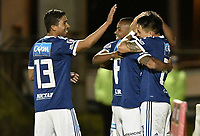 TUNJA -COLOMBIA, 29-07-2018. Cesar Carrillo  (Der) jugador de Millonarios celebra con Henry Cristian Marrugo, Rojas Delgado y Juan Camilo Salazar después de anotar el primer gol de su equipo a Patriotas Boyacá durante partido por la fecha 2 de la Liga Águila II 2018 realizado en el estadio La Independencia de Tunja. / Cesar Carrillo (R) player of Millonarios celebrates with Cristian Marrugo, Henry Rojas Delgado and Juan Camilo Salazar after scoring the first goal of his team to Patriotas Boyaca during match for the date 2 of Aguila League II 2018 played at La Independencia stadium in Tunja. Photo: VizzorImage/ Gabriel Aponte / Staff