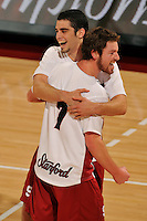 18 January 2008: Evan Romero and Brandon Williams during Stanford's 3-1 win over USC at Maples Pavilion in Stanford, CA.