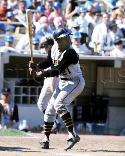 Unknown Date: Hall of fame outfielder Roberto Clemente of the pittsburgh pirates about to bat at home plate