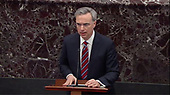 In this image from United States Senate television, White House Counsel Pat Cipollone makes his closing arguments against the removal from office of US President Donald J. Trump during the President's impeachment trial in the US Senate in the US Capitol in Washington, DC on Saturday, January 25, 2020.  The Senate stands in adjournment until Monday, January 27, 2020.<br /> Mandatory Credit: US Senate Television via CNP