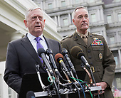 United States Secretary of Defense James Mattis (left) makes a statement on a possible military response to the recent North Korea missile launch with the Chairman of the Joint Chiefs of Staff US Marine Corps General Joseph Dunford (right) at The White House, September 3, 2017. <br /> Credit: Chris Kleponis / Pool via CNP