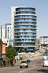 Modern architecture of Hilton Hotel, Bournemouth, Dorset, England, UK