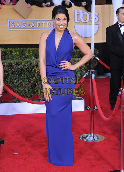 Jordin Sparks.Arrivals at the 19th Annual Screen Actors Guild Awards at the Shrine Auditorium in Los Angeles, California, USA..27th January 2013.SAG SAGs full length dress blue purple halterneck hand on hip.CAP/DVS.©DVS/Capital Pictures.
