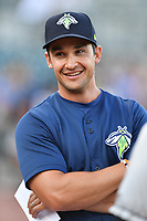 Manager Jose Leger (19) of the Columbia Fireflies in a game against the West Virginia Power on Thursday, May 18, 2017, at Spirit Communications Park in Columbia, South Carolina. Columbia won in 10 innings, 3-2. (Tom Priddy/Four Seam Images)