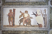 Pictures of a Roman mosaics design depicting Dionysus Riding a Panther, from Abdel Jelil. 2nd century AD. El Djem Archaeological Museum, El Djem, Tunisia.<br /> <br /> The Roman mosaic depicts Dionysus riding a Panther spilling a glass of wine he is holding. Behind him, a satyr wearing a panther skin plays a flute. In front of Dionysus a Bacchante is praying to Priapus,  a minor god of fertility. Surrounding the scene is a wreath designs with a medallion in each corner containing a wild boar, a panther, and lions.