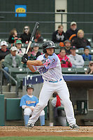 Myrtle Beach Pelicans catcher David Lyon #36 at bat during a game against the Salem Red Sox at Ticketreturn.com Field at Pelicans Ballpark on April 6, 2014 in Myrtle Beach, South Carolina. Salem defeated Myrtle Beach 3-0. (Robert Gurganus/Four Seam Images)