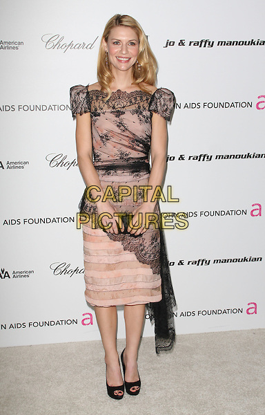 CLAIRE DANES.17th Annual Elton John AIDS Foundation Academy Award Viewing Party held at the Pacific Design Center, West Hollywood, California, USA..February 22nd, 2009.oscars full length beige pink black lace dress open toe shoes .CAP/ADM/KB.©Kevan Brooks/AdMedia/Capital Pictures.