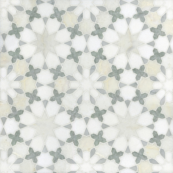 Granada, a stone waterjet mosaic shown in Heavenly Cream, Cloud Nine, Ming Green, Carrara and Thassos, is part of the Miraflores collection by Paul Schatz for New Ravenna.