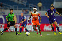 Orlando, FL - Thursday June 23, 2016: Chioma Ubogagu, Stephanie Catley during a regular season National Women's Soccer League (NWSL) match between the Orlando Pride and the Houston Dash at Camping World Stadium.