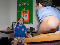 Ballboy Taylor is interviewed by Wycombe Wanderers as Ballboy Taylor Hunt  at Wycombe Wanderers Training Ground, High Wycombe, England on 25 August 2015. Photo by Andy Rowland.