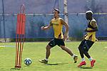 Getafe's Nemanja Maksimovic (l) and Amath Ndiaye during training session. May 25,2020.(ALTERPHOTOS/Acero)