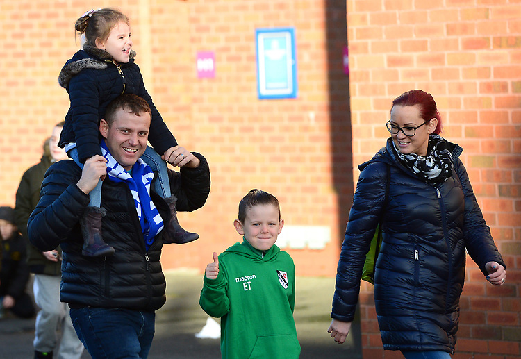 Blackburn Rovers fans make their way to the stadium<br /> <br /> Photographer Richard Martin-Roberts/CameraSport<br /> <br /> The EFL Sky Bet Championship - Blackburn Rovers v West Bromwich Albion - Tuesday 1st January 2019 - Ewood Park - Blackburn<br /> <br /> World Copyright © 2019 CameraSport. All rights reserved. 43 Linden Ave. Countesthorpe. Leicester. England. LE8 5PG - Tel: +44 (0) 116 277 4147 - admin@camerasport.com - www.camerasport.com