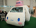 February 8, 2017, Tokyo, Japan - Japan's character giant Sanrio displays Sanrio's character Cinnamoroll designed food wagon to celebrate Cinnamoroll's 15th birthday at the company's latest products exhibition at Sanrio headquarters in Tokyo on Wednesday, February 8, 2017. The Cinnamoroll shaped wrapping car will travel across Japan from April and will have events for Cinnamoroll's 15th anniversary.    (Photo by Yoshio Tsunoda/AFLO) LwX -ytd-