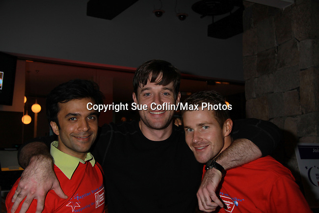 One Life To Live's Nick Choksi, Tom Degnan, Josh Kelly at the Daytime Stars and Strikes Charity Event to benefit the American Cancer Society at the Bowlmore Lanes, New York City, New York. (Photo by Sue Coflin/Max Photos)