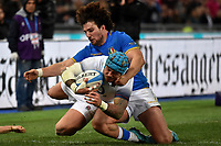 Jack Nowell England Try, Tommaso Boni Italy. Meta inghilterra <br /> Roma 04/02/2018, Stadio Olimpico <br /> NatWest 6 Nations Championship <br /> Trofeo Sei Nazioni <br /> Italia - Inghilterra - Italy - England<br /> Foto Andrea Staccioli / Insidefoto