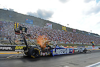 Jul, 20, 2012; Morrison, CO, USA: NHRA top fuel dragster driver Antron Brown during qualifying for the Mile High Nationals at Bandimere Speedway. Mandatory Credit: Mark J. Rebilas-