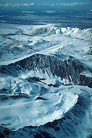 Aerial view, mountains in the Alaska Range, Denali National Park, Alaska