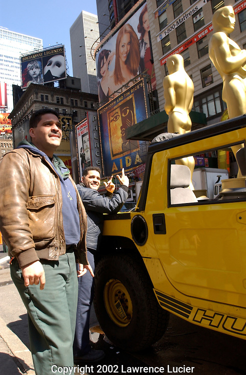 Giant versions of OSCAR arrive at their location for the Oscar Night gala March 21, 2002 in New York. The Academy is holding their Oscar night event at Le Cirque March 24, 2002, in Manhattan.