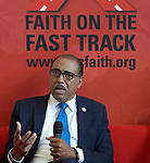 Michel Sidibé, the executive director of UNAIDS, speaks on July 24 with religious leaders and activists at the 2018 International AIDS Conference in Amsterdam, Netherlands. The meeting took place in the Interfaith Networking Zone, a space sponsored by the World Council of Churches-Ecumenical Advocacy Alliance in the conference's Global Village.