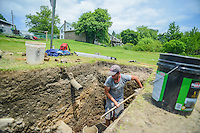 HAZLETON, PA - JUNE 30:  Justin Uehlein works at the site of an archaeologic dig June 30, 2014 in Hazleton, Pennsylvania. The team is looking through sites connected with the Lattimer Massacre which occurred in 1897. (Photo by William Thomas Cain/Cain Images)