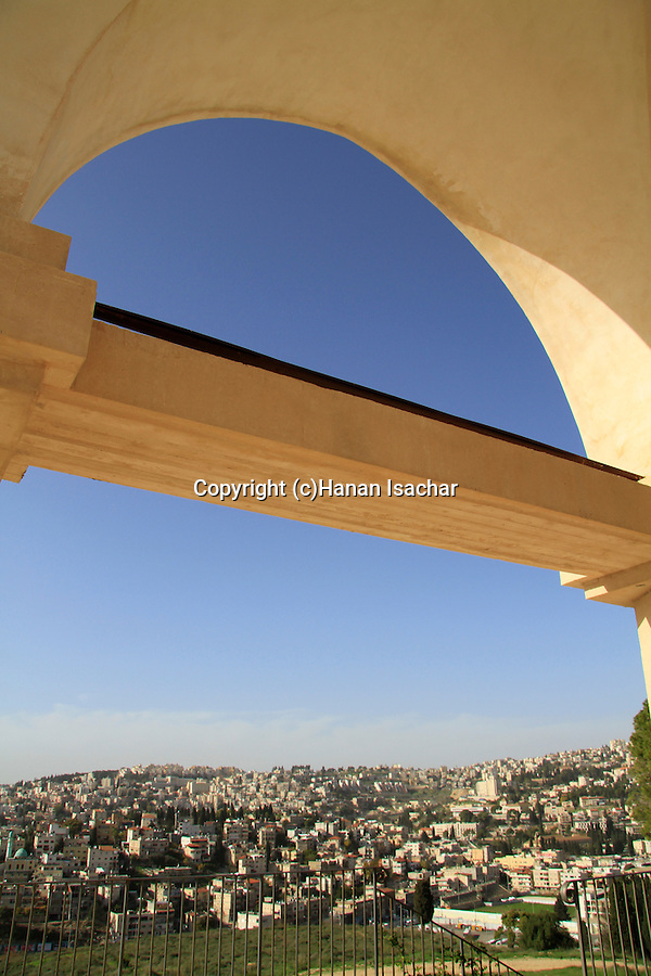 "Israel, Lower Galilee, a view of Nazareth from the Franciscan ""Mary's Fear"" church"
