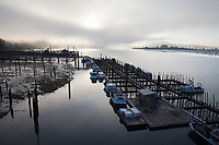 Fishing Boats & Floating Fish Farm in Fog at Sunrise, Astoria Marina, Oregon, USA